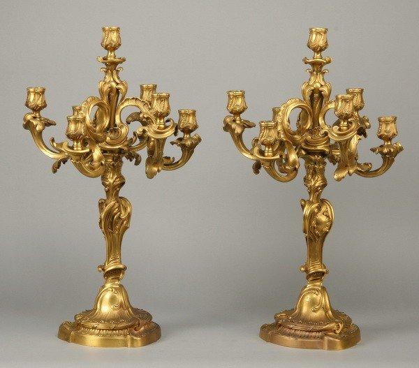 314: 19th c. dore' bronze candelabra attr to Linke