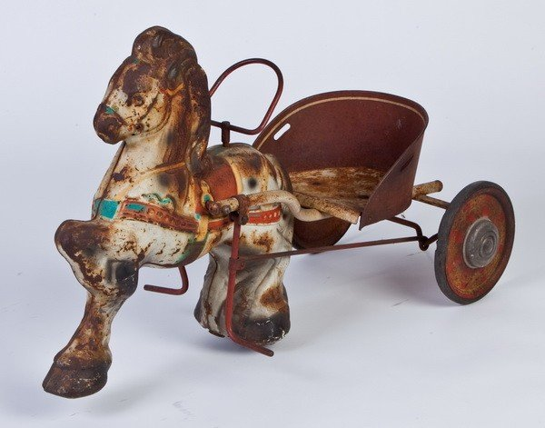 15: Mid 20th c. child's pedal horse and wagon