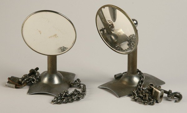 22: Pair of vintage side mounted truck mirrors