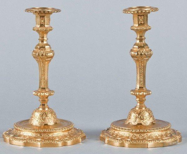 1: (2) 19th c. dore' bronze candleholders