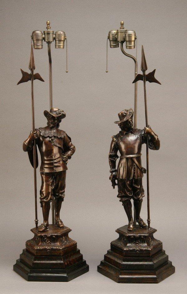 3: (2) Bronze clad figural lamps