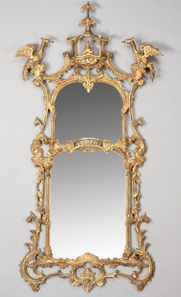 4: 19th c. Chinese Chippendale style mirror