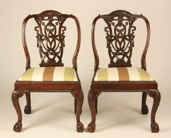 5: (2) Very fine 18th c. Chippendale side chairs