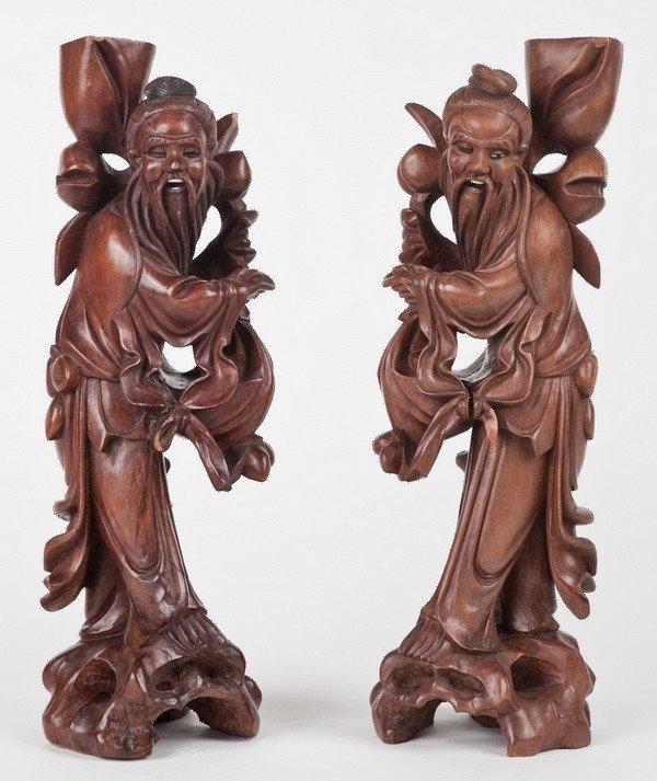 8: (2) 19th c. figural candleholders