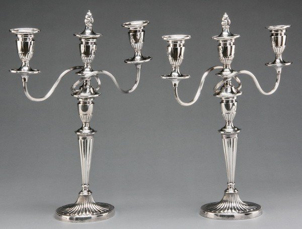 9: Pair of English silver plate candelabras