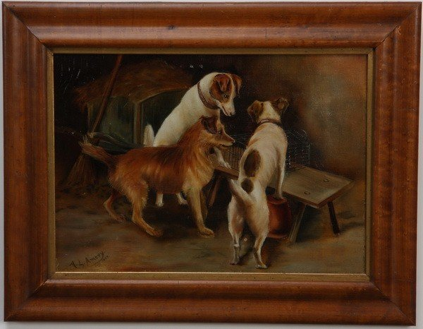 12: Early 20th c. oil on canvas, signed and dated
