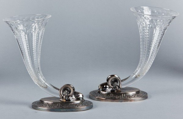 14: (2) 19th c.cut crystal and silver plate vases