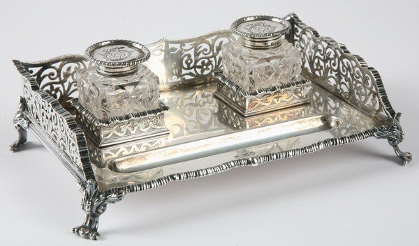 17: 19th c. English crystal and sterling inkwell