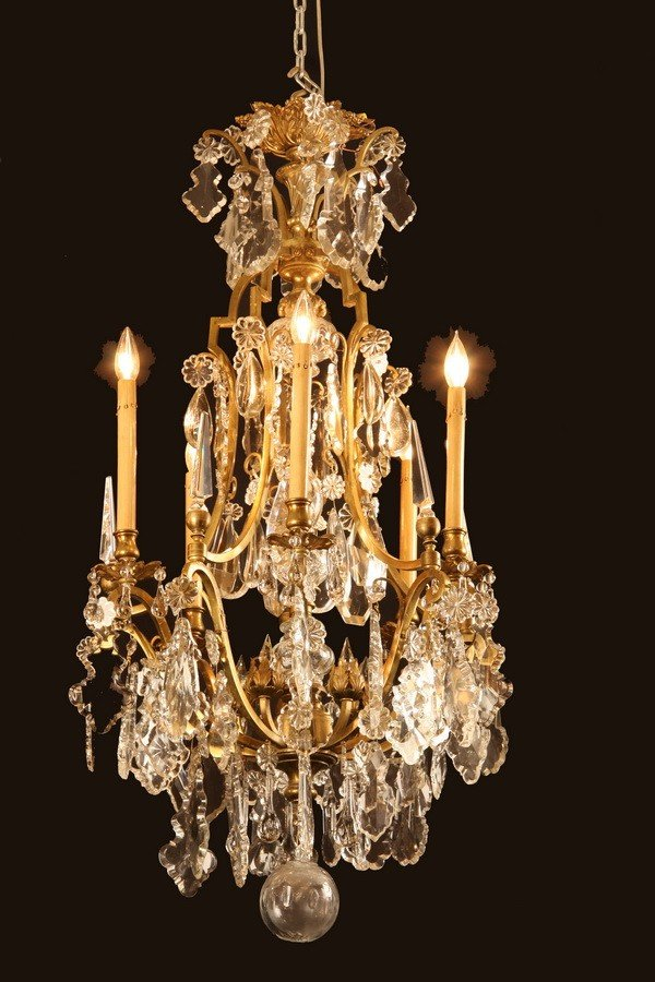 21: 19th c. French bronze and crystal chandelier