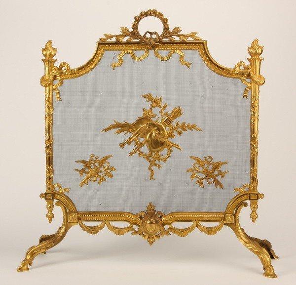 22: French gilt bronze firescreen