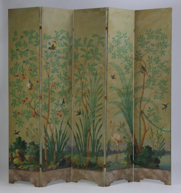 24: Mid 20th c. hand painted 5-panel room divider