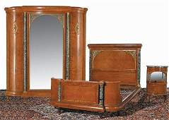 357: Early 20th c. bedroom set w/ marble columns