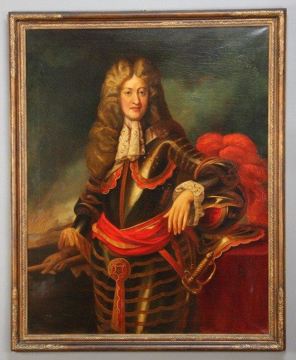 403: Oversized 19th c. oil on canvas portrait