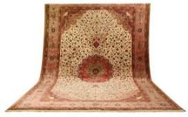 408: Palace size 100% silk Persian rug, 20' long
