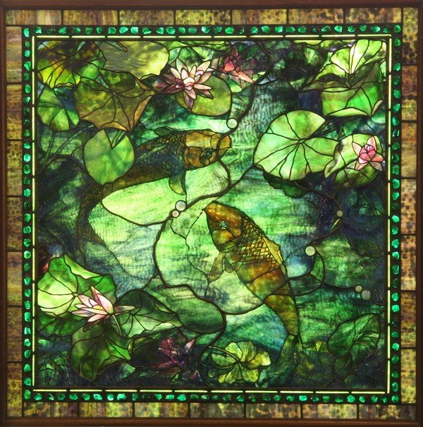 451: 20th c. American stained glass window, signed