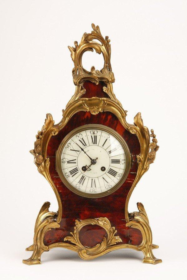 1: 19th c. tortoiseshell and gilt ormolu clock