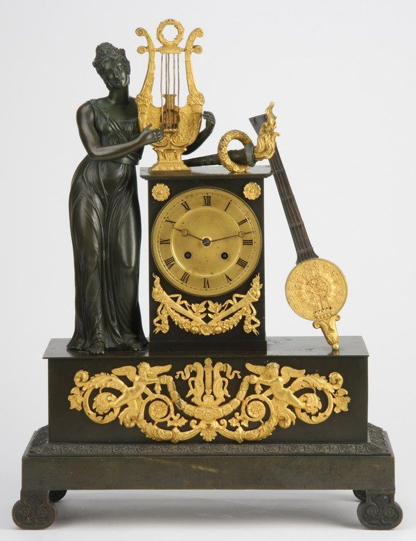 4: 19th c. French bronze figural clock
