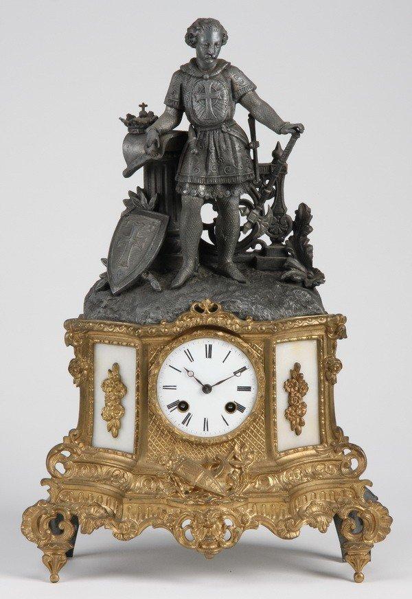 7: 19th c. French bronze figural clock