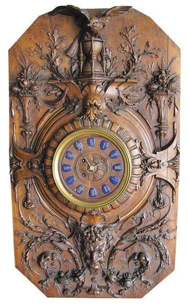 9: 19th c. French walnut wall clock