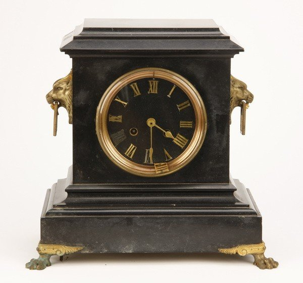 11: 19th c. black Belgian marble clock