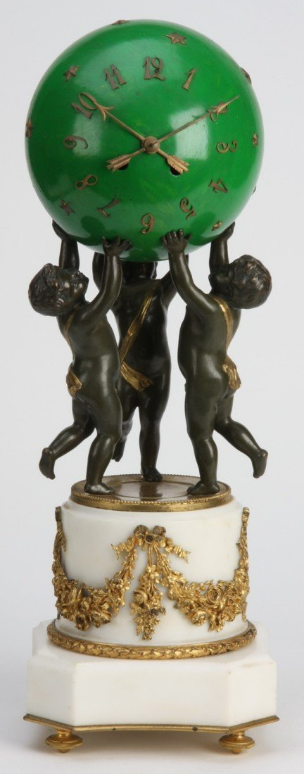 12: 19th c. bronze and marble figural clock