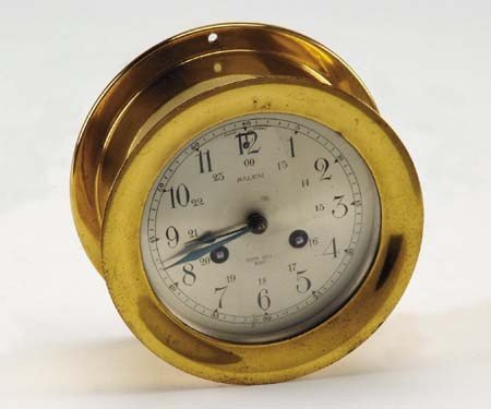 14: Early 20th c. ship's bell brass clock