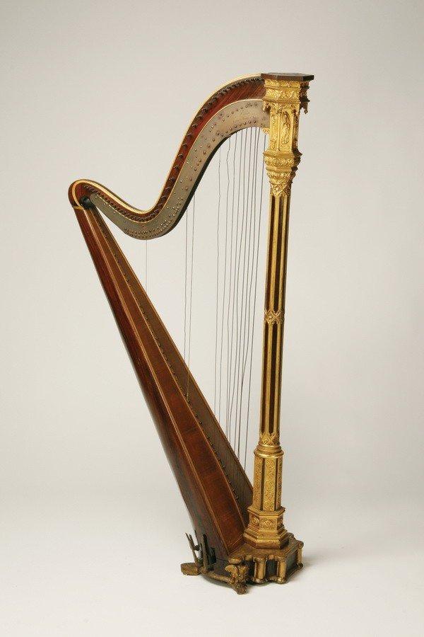 21: 19th c. parcel gilt  rosewood Erard harp