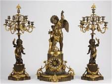 25: Monumental 3-piece bronze figural clock set