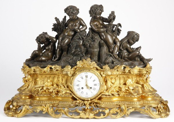 112: Ovesized 19th c. French bronze figural clock