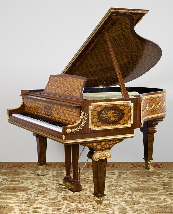 119: Steinway & Sons marquetry inlaid grand piano