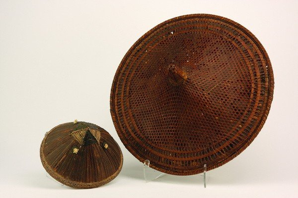 7: (2) Antique Asian woven hats