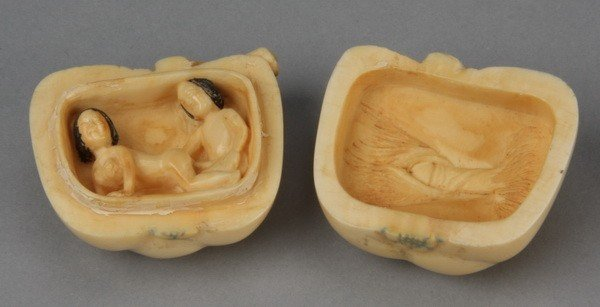8: Early 20th c. erotic carved ivory Netsuke