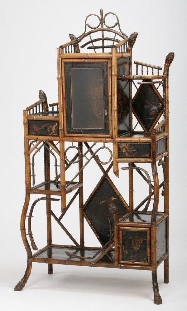 11: 19th c. English Art Nouveau bamboo etagere