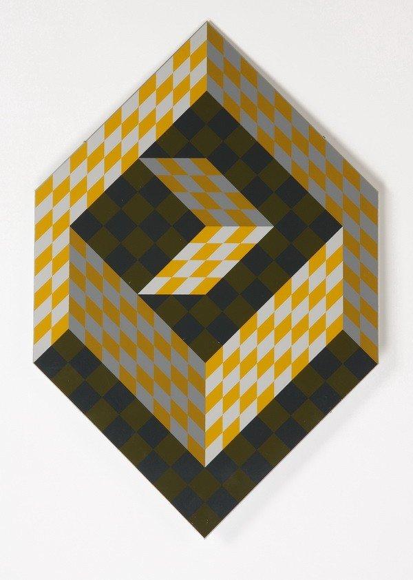 14: 20th c. silkscreen on aluminum, by Vasarely
