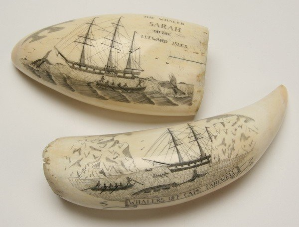 16: Pair of 19th c. whale tooth scrimshaw
