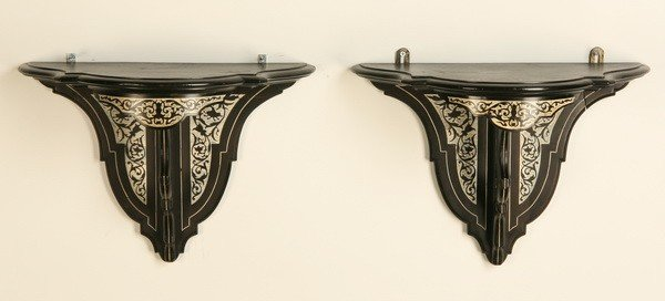17: Pair of 19th c. ivory inlaid wall brackets