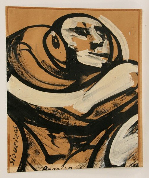 32: 20th c. acrylic on paper, signed Siqueiros