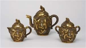 19 20th c Japanese Satsuma porcelain tea set