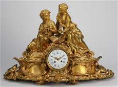 292: Monumental 19th c. bronze figural clock