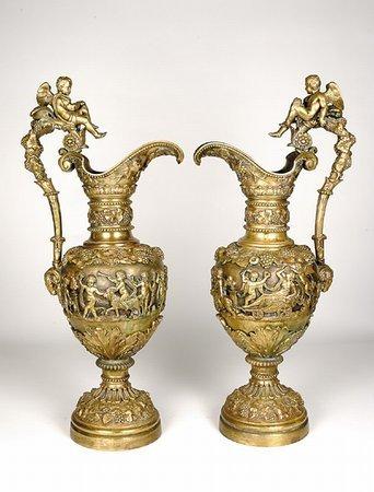 203: 19th C Bronze Ewers Bacchanalia Putti