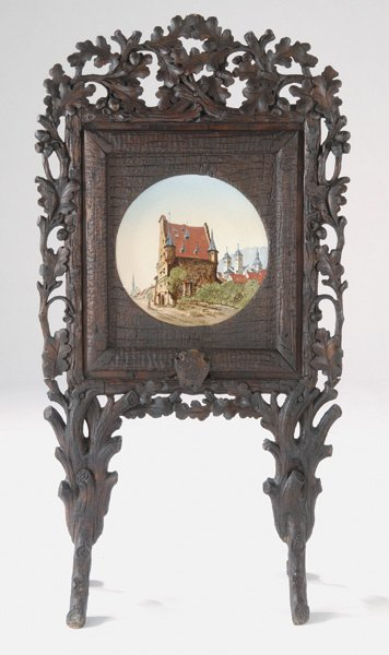 207: Black Forest 19th C Firescreen w/ Metlach Plaque