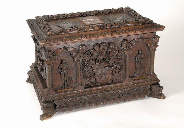 208: Antique German Royal Wedding Chest Oak Carved