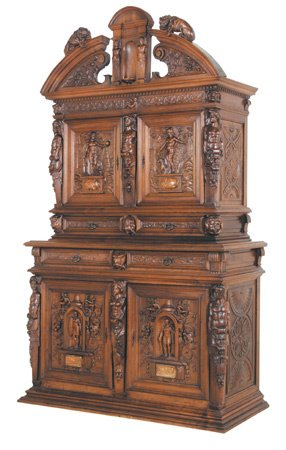 209: 19th C Cabinet Carved Roman Goddess & Soldiers