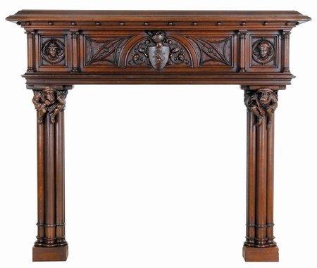 211: 19th C Oak Fireplace Mantle Mantel Antique