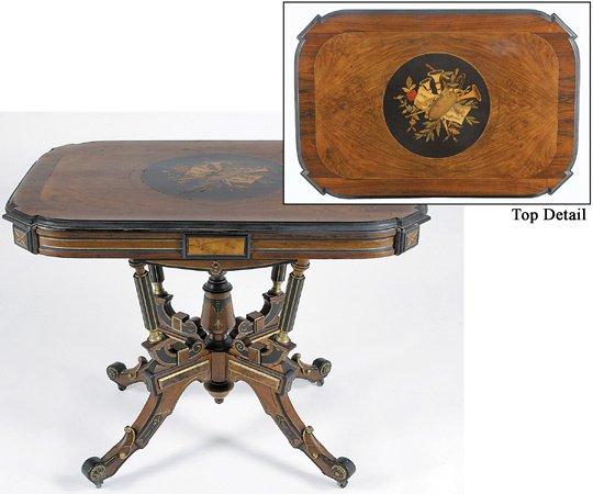 213: Renaissance Revival Marquetry & Ebonized Table
