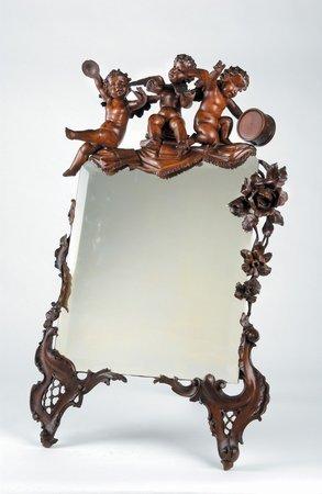 215: 19th C Venetian Fantasy Mirror Carved Cherubs