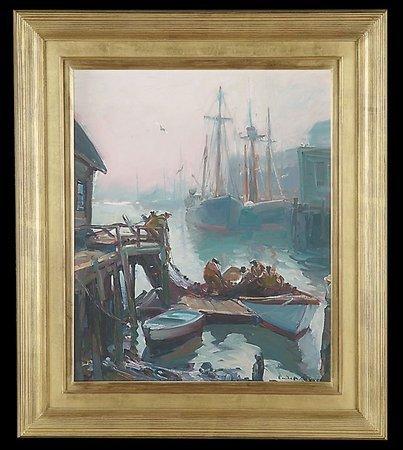 218: Emile Gruppe Signed Gloucester Harbor Oil Canvas