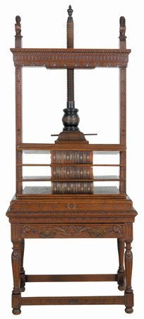 219: 18th C Rare Book Press Carved Center Room Style