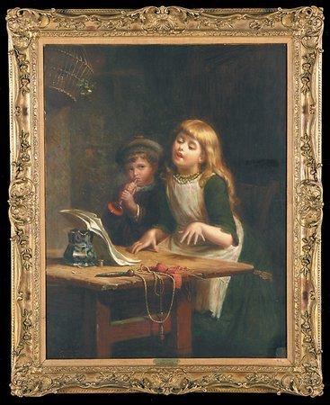 220: Edwin Roberts 19th C Oil Canvas Children Singing