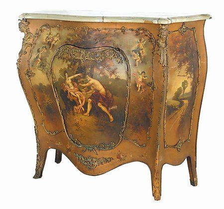 222: RARE Vernis Martin decorated commode by RJ Horner